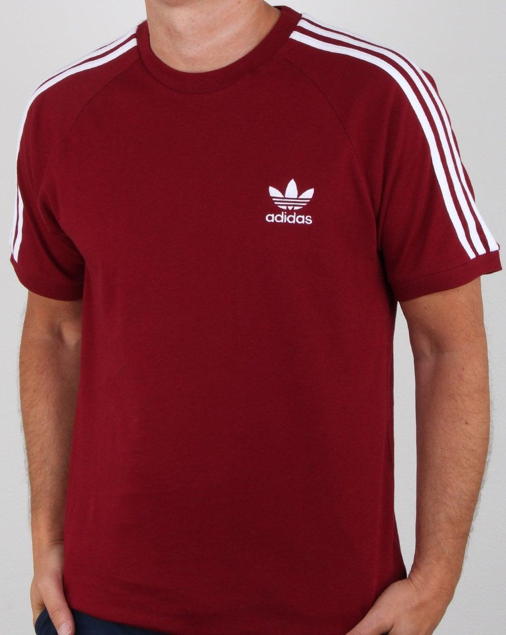 adidas 3 stripes shirt trace maroon