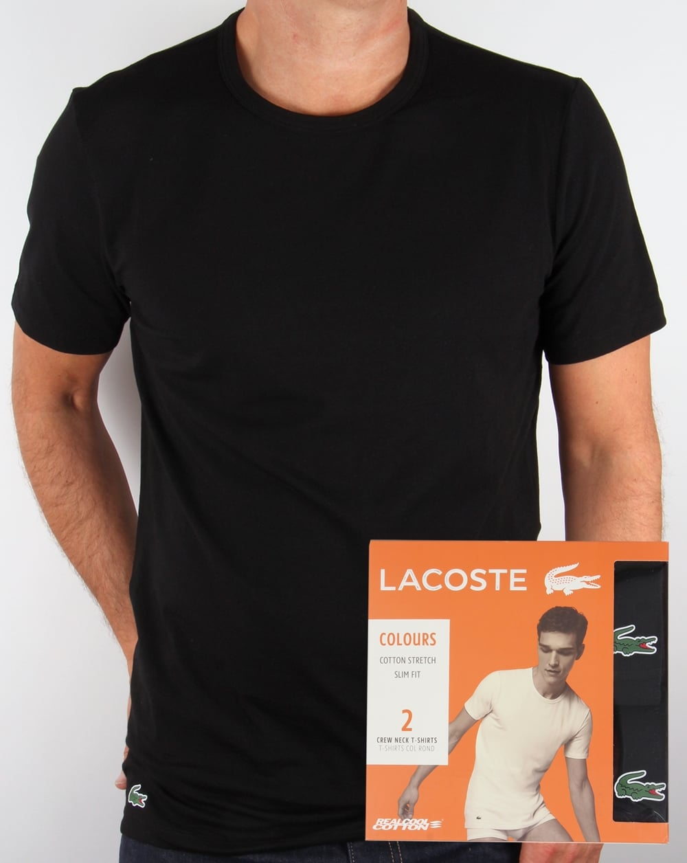 Lacoste Twin Pack Crew Neck T Shirts in White short sleeved tee